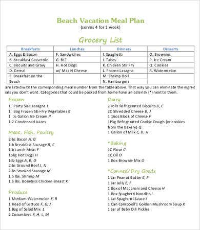vacation meal plan template