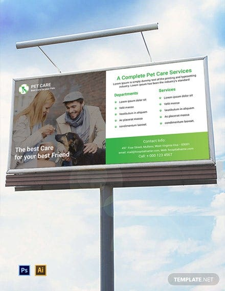 free pet care billboard template