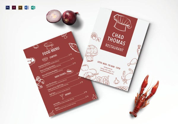 printable vertical sketch restaurant menu