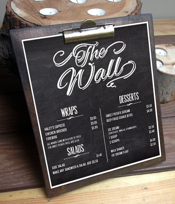 restaurant menu on wood