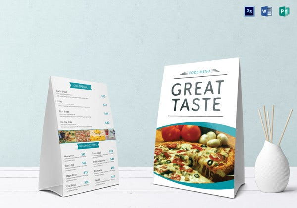sample restaurant food table tent menu
