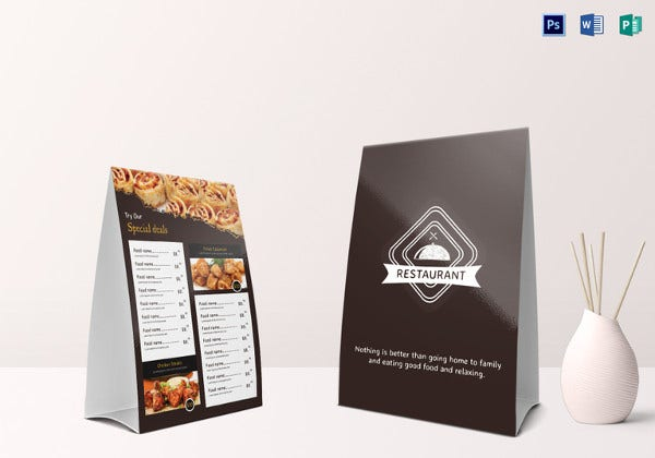 sample restaurant table tent menu