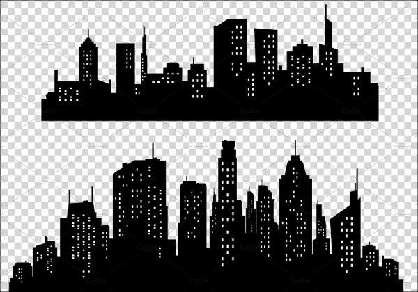 City Street Cars Buildings Wrapper Panoramic Vector Illustration