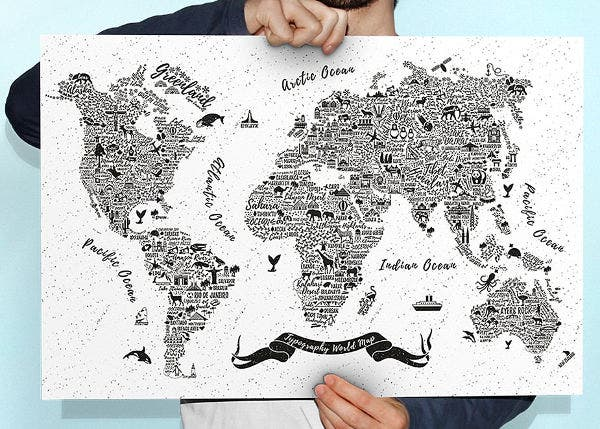 typography world map vector