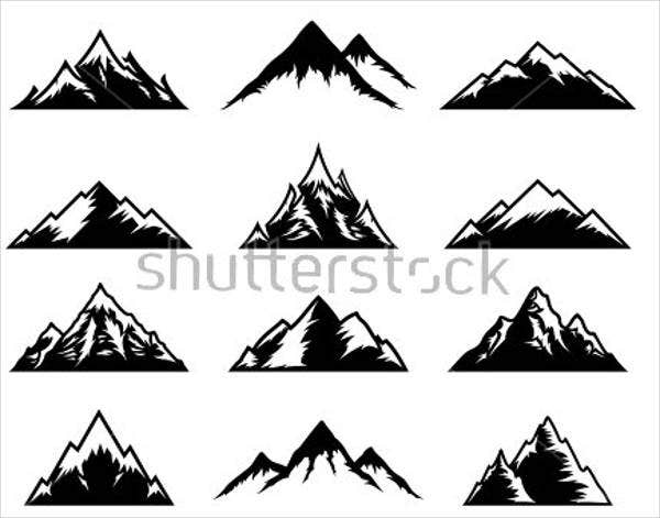 black-and-white-mountain-silhouette