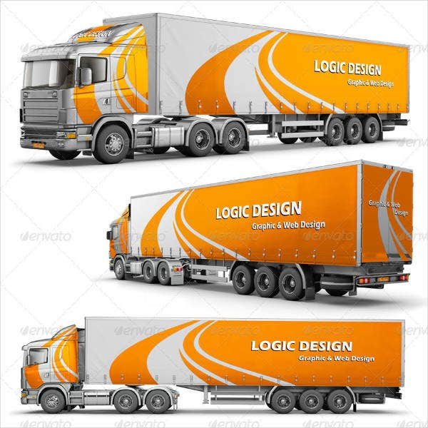 Semi Truck Vehicle Mockup