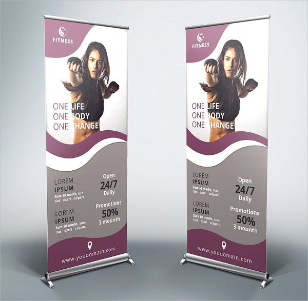 Gym Roll Up Banner Template
