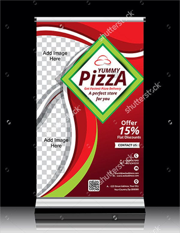 Pizza Store Roll Up Banner Template design