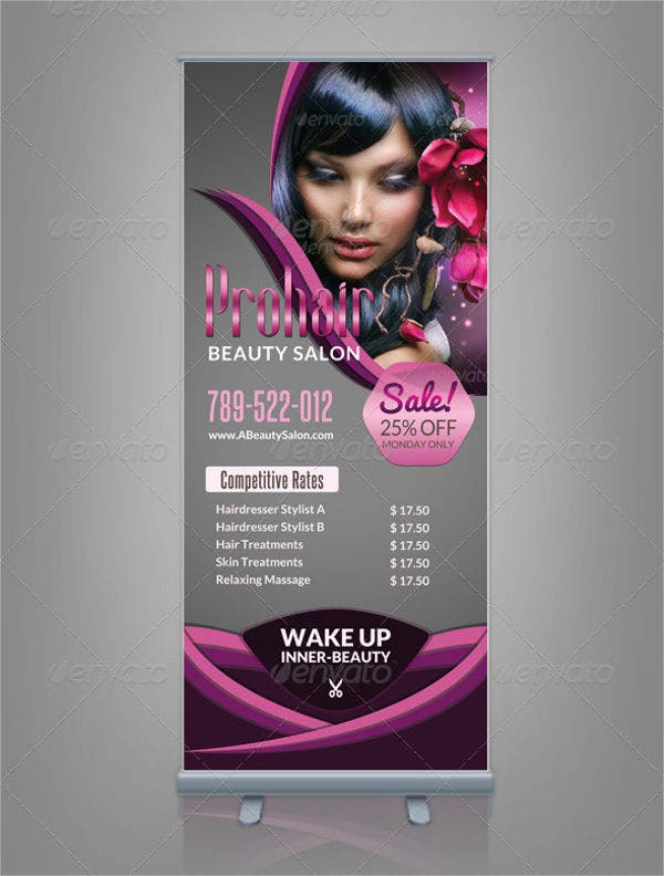salon spa roll up banner template