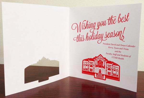 Die Cut Holiday Greeting Card