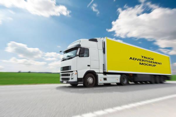 semi truck branding mockup