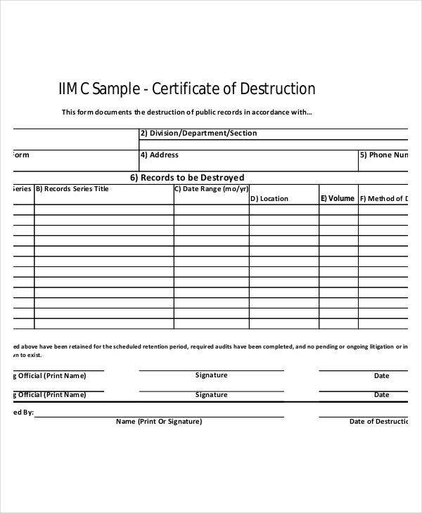 printable certificate of destruction