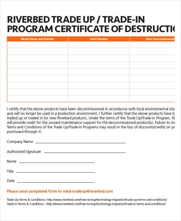 program certificate of destruction template
