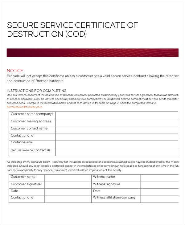 service certificate of destruction template
