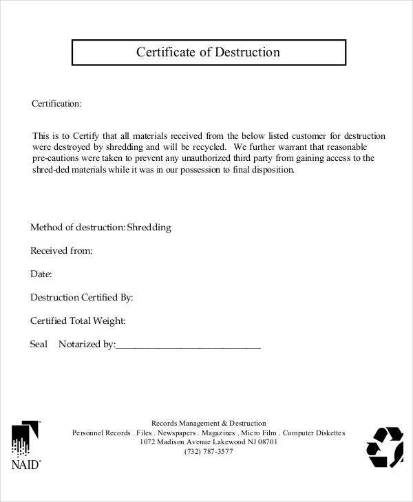simple certificate of destruction
