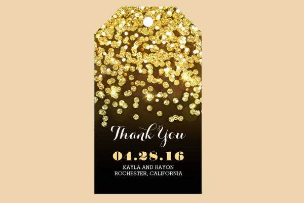 gold glittering thank you tag