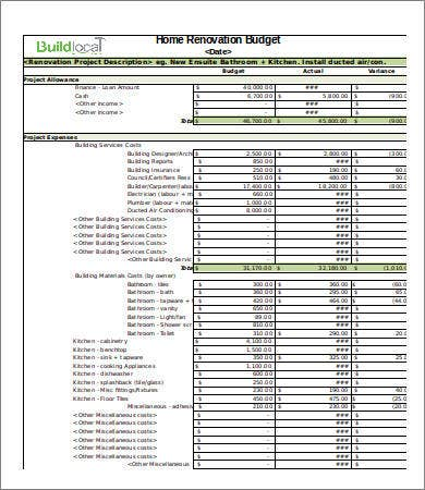 Renovation Budget Template  Free Sample Example Format  Free