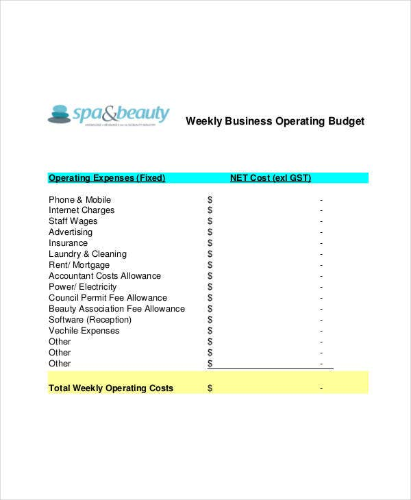 Operating Budget Template   Free Pdf Documents Download  Free