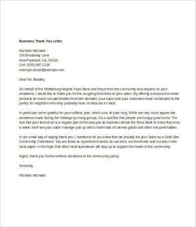 business thank you letter template