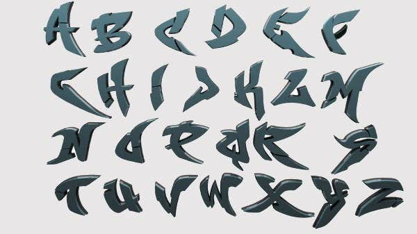 5 3d graffiti alphabets psd vector eps format download - L alphabet en graffiti ...