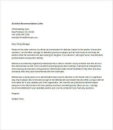 personal assistant letter of recommendation