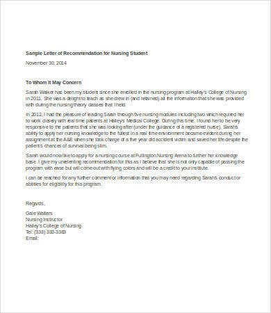 sample letter of recommendation for nursing student