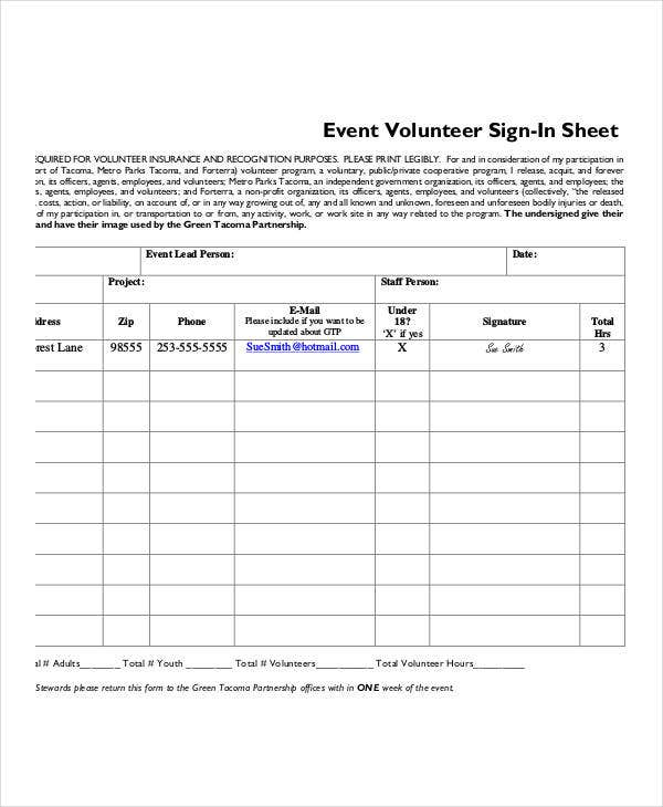 Volunteer SignIn Sheet Templates 9 Free PDF Documents Download – Sign in Sheet for Doctors Office Templates