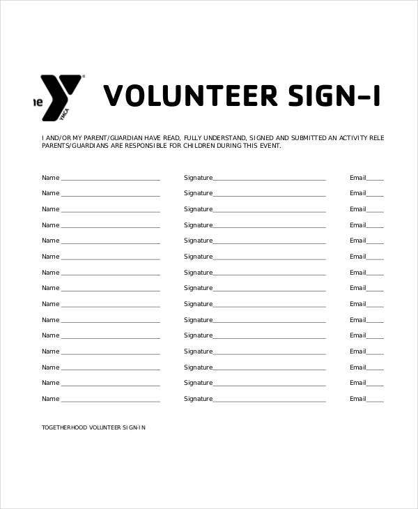free volunteer sign in sheet template