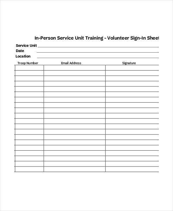 training volunteer sign in sheet