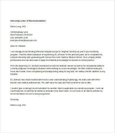 letter of recommendation for student intern1