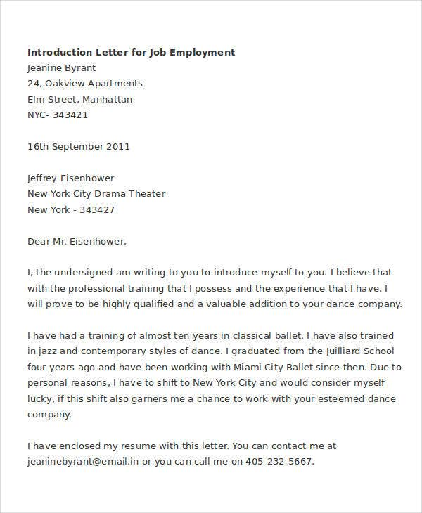 letter of introduction for employment job