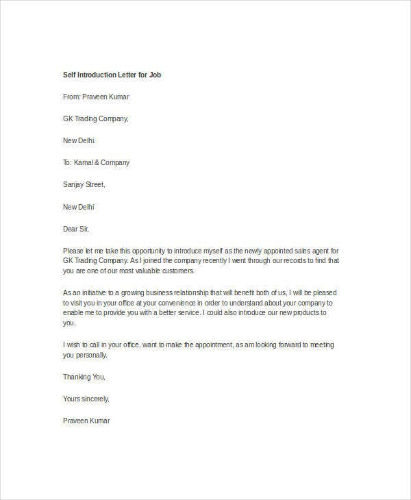 presentation letter for a job