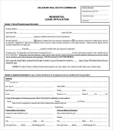 rental lease application template