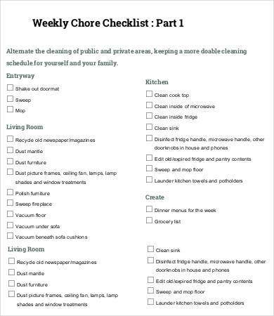 Weekly Chore Checklist Template