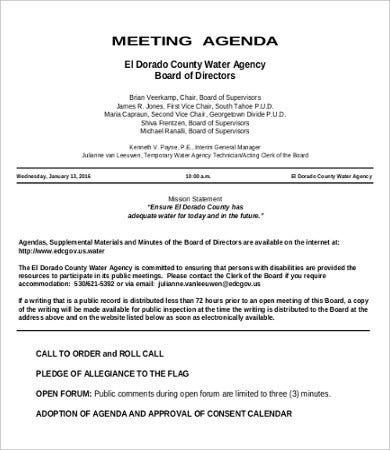 hourly meeting agenda template