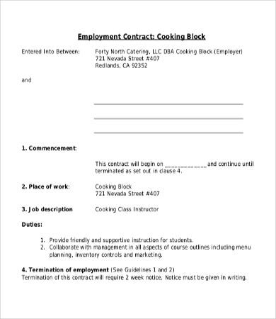 Contract Employee Agreement Canada Employment Agreement Employment