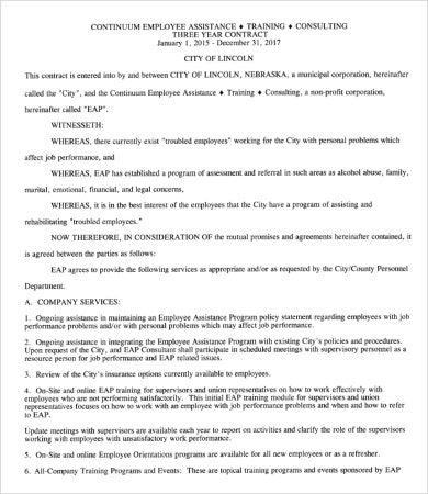 Employee Training Contract Template
