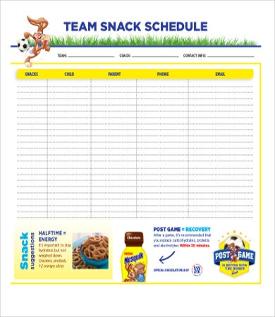 Team Snack Schedule Template