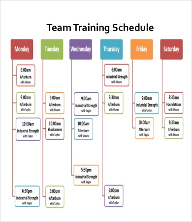 Team Training Schedule Template