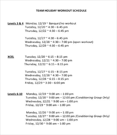 Team Holiday Schedule Template