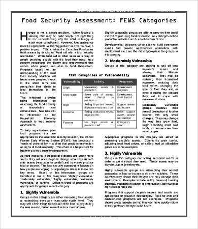 Food Security Assessment Template