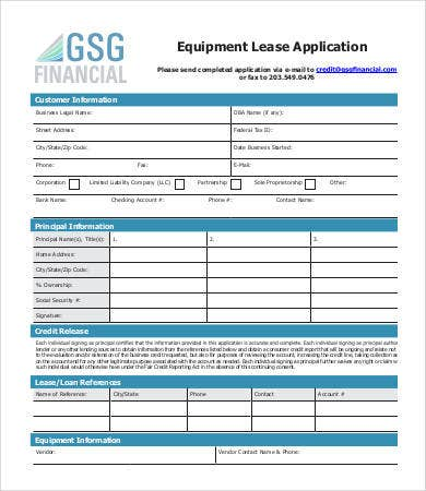 equipment lease application template