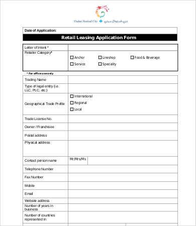 retail lease application template