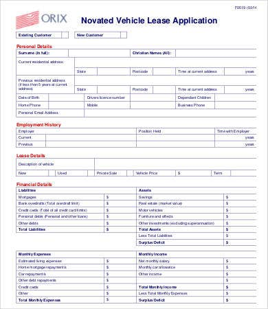 vehicle lease application template