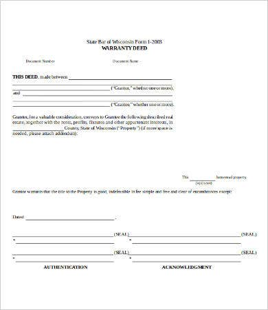 Blank Warranty Deed Form