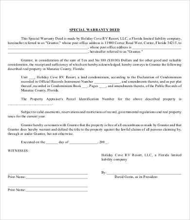 Sample Warranty Deed Form Sample Special Warranty Deed Form Sample