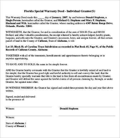 Charming Florida Special Warranty Deed Form
