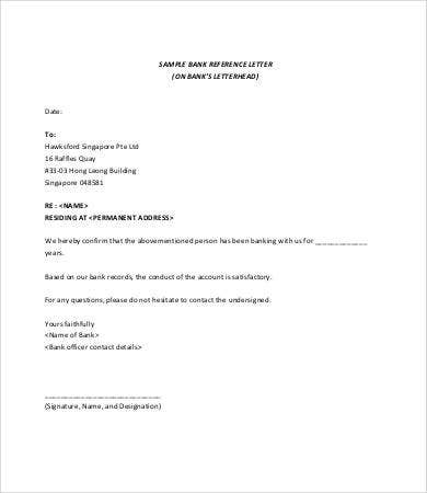 personal bank reference letter template