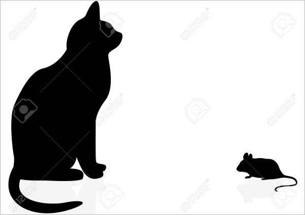 cat and mouse silhouette