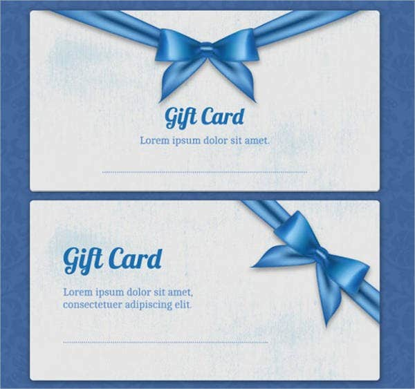 gift card template with blue ribbon